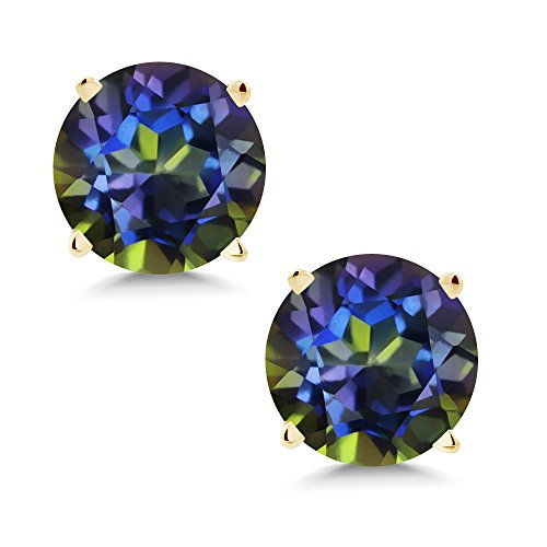 - 2.00 Ct Round 6mm Blue Mystic Topaz 14K Yellow Gold Stud Earrings