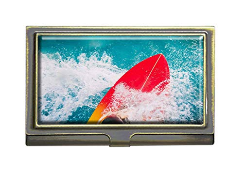 Surfboard Red Surf Decor - Surfer On Red Surfboard Ride Blue Ocean Wave Business Card Holders Bank Name Case Holder Bronze Card Credit ID Case Box Pocket Wallet Purse