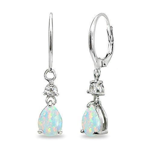 (Sterling Silver Simulated White Opal & Topaz 8x6mm Teardrop Dangle Leverback Earrings)
