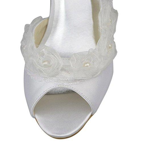 Hochzeit Braut Satin Minitoo Girls Weiß 5 cm Sandalen Ferse Womens Slingback Elegante 6 Blumen w6x0SxqB