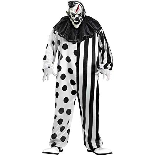 Scary Clown Costumes For Halloween - FunWorld Killer Clown Complete, Black/White, One