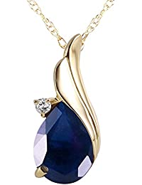 2.53 Carat 14k Solid Gold Necklace with Natural Diamond and Sapphire