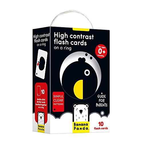 Banana Panda - High Contrast Flash Cards on a Ring - Visual Learning Activity for Babies Ages 0 Months and Up