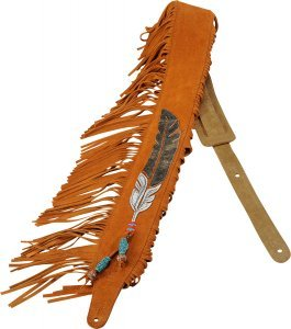 Levy's Leathers Guitar Strap, MS17AIF-004, 2 1/2'' suede leather guitar strap with American Indian leather appliqué and embroidery design