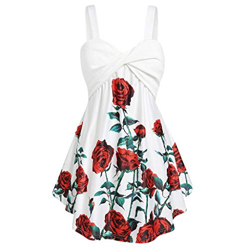 Usstore Women Swing Sling Tank Plus Size Rose Printed Summer Fashion V-Neck Sleeveless Casual Twist Tops Loose Party Tee (XXXXXL, White)