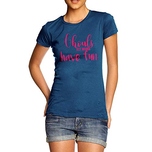 TWISTED ENVY Womens Funny Tshirts Ghouls Wanna Have Fun Small Royal Blue for $<!--$14.99-->
