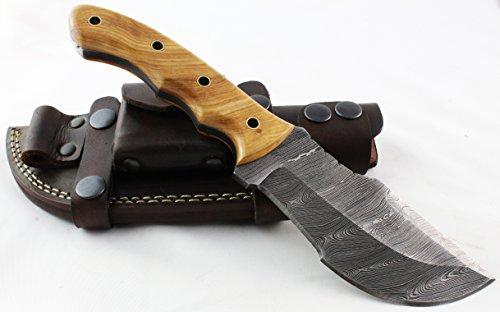 Moorhaus Handmade Custom Firestorm Damascus Olive Wood TRACKER knife, Brown Sheath Review