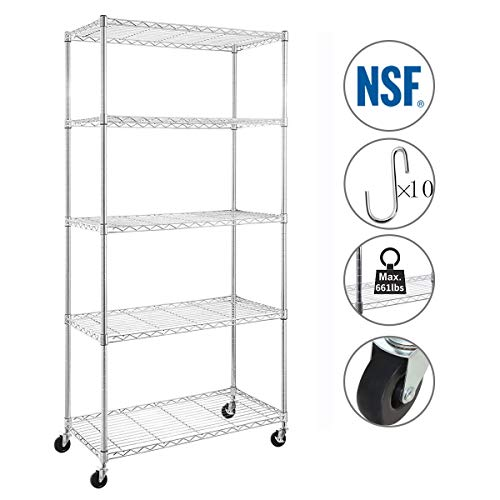 BRIAN & DANY 5-Shelf Shelving Unit on Industrial Grade Wheels (2 with Brakes), NSF Certified, 30x14x64.75-inches Heavy Duty Shelves(Chrome) ()