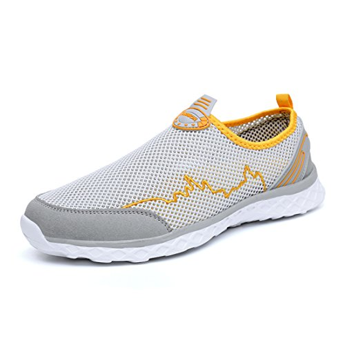 KRIMUS Womens Mens Water Shoes Lightweight Quick Dry Aqua Walking Shoes (Grey Yellow-40)