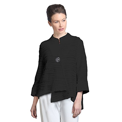 IC Collection Soft Knit Asymmetric Jacket in Black - 2643J-BLK (Large)