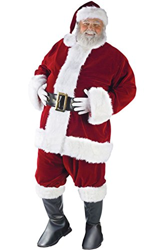 [Mememall Fashion Ultra Velvet Santa Claus Suit Adult Halloween Costume] (Latex Wolf Suit)