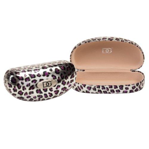 DG Eyewear Purple Leopard Print Clamshell Sunglasses Hard Case