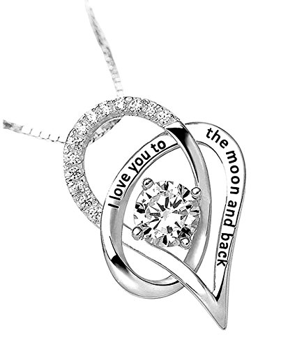 Davelina Designs Best Heart Necklace Pendant Sterling Silver 925 I Love You to The Moon and Back Cubic Zirconia Crystal