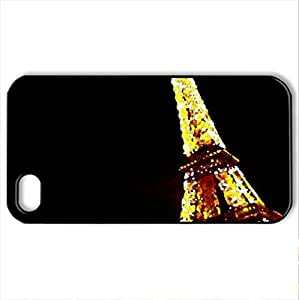Lighted Eiffel Tower - Case Cover for iPhone 4 and 4s (Monuments Series, Watercolor style, Black)