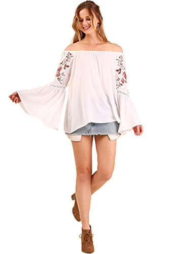 349a9095d Umgee Bohemian Off The Shoulder Embroidered Bell Sleeve Tunic Top. Hover to  zoom
