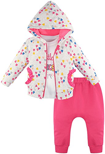 Lilax Baby Girl Cotton Heart Print T-Shirt, Pant, and Hoodie 3 Piece Outfit Set 12M Pink