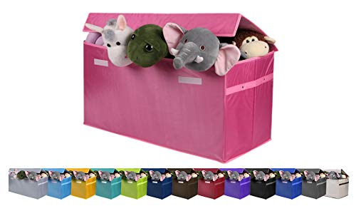 Toy organizer JUMBO Collapsible Toy Chest for Kids (XX-Large), Huge Storage Basket w/ Flip-Top Lid | Organizer Bin for Bedrooms, Closets, Child Nursery | Store Stuffed Animals, Games, Clothes, Shoes