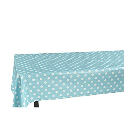 """Ottomanson Vinyl Tablecloth Polka Dot Design Indoor & Outdoor Non-Woven Backing Tablecloth, 55"""" X 102"""", Light Blue - A must have tablecloth in every house to protect your tables from wear, tear, damage, stain and spills. 