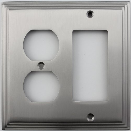 (Satin Nickel Deco Step Style Two Gang Combination Switch Plate - One Duplex Outlet Opening One GFI/Decora Opening)