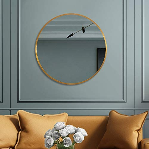 LINSGROUP 24inch Round Modern Wall Mounted Mirror with Aluminum Alloy Frame for Bathroom Living Room 24 Round, Gold