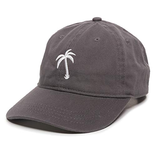 Palm Tree Embroidered Dad Hat - Adjustable Polo Style Baseball Cap - Relaxed Fit (Slides Baseball)