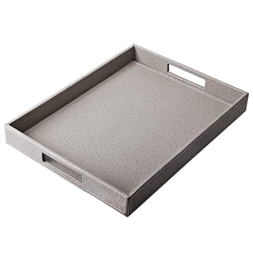 Ranslen Ostrich Faux Leather Rectangular Serving Tray with Handles for Bed/Ottomans/Sofa/Parties, Medium