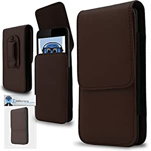 Brown PREMIUM PU Leather Vertical Executive Side Pouch Case Cover Holster with Belt Loop Clip and Magnetic Closure for LG L50 D213N