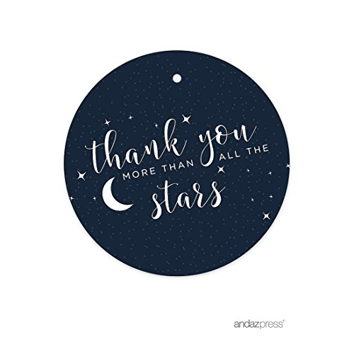 Andaz Press Love You to the Moon and Back Wedding Collection, Round Circle Gift Tags, Thank You More Than All The Stars, 24-Pack