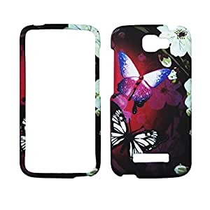 2D Butterfly White Flower For Alcatel One Touch Fierce 2 7040 Case Cover Hard Phone Case Snap on Shield Protector Rubberized Frosted Matte Surface Hard Shells