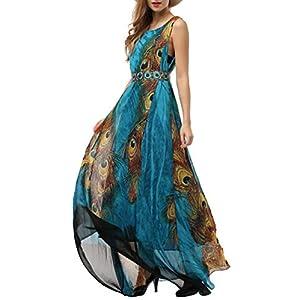 Wantdo Women's Flowy Chiffon Maxi Dress Plus Size Casual Long Skirt Belt