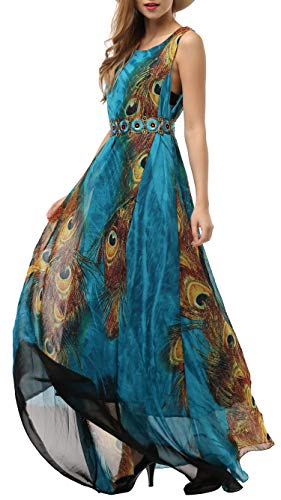Chiffon Maxi Dress Plus Size Summer Casual Long Dresses with Belt(Peacock, US 28 Plus) ()