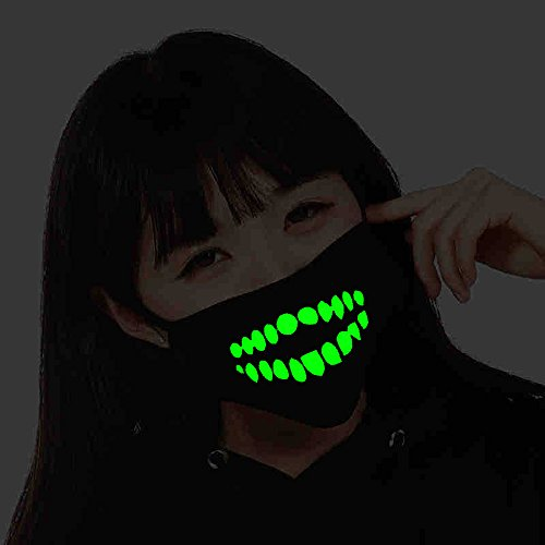 Marsway Cool Luminous Teeth Mouth Mask Green Glow Anti-Dust Earloop Protective Face Mouth Mask for Halloween Party (Dehisce)