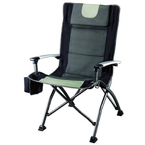 Ozark Trail High Back Chair, Ultra Durable Steel Frame, Adjustable Feet, With Cup Holder, Perfect Seat for Outdoor, Camping and Picnic (Black)