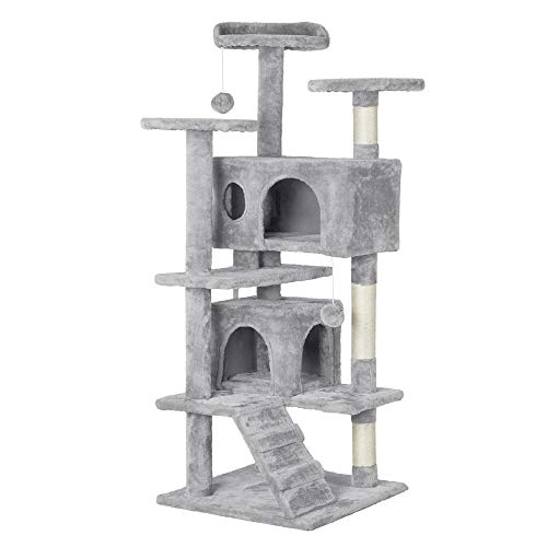 Yaheetech 51in Multi-Level Cat Tree with Sisal-Covered Scratching Posts, Plush Perches, Double Condos and Replaceable Dangling Balls Light Gray - for Kittens, Cats and Pets
