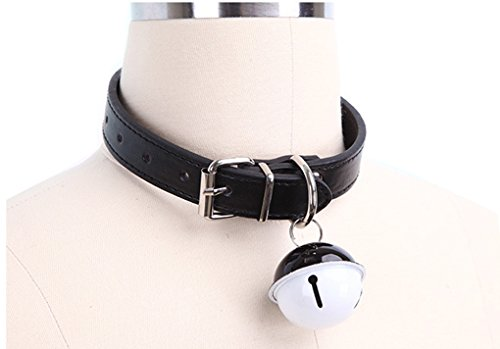 SUPER Q Handmade Cosplay Choker Necklace Lolita Kitty Bell Collar Leather Bow Chokers -