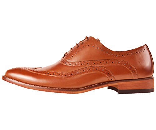 Amali Hombres Smooth Wingtip Oxford Zapato De Vestir Con Color Madera Sole Style Beal Tan