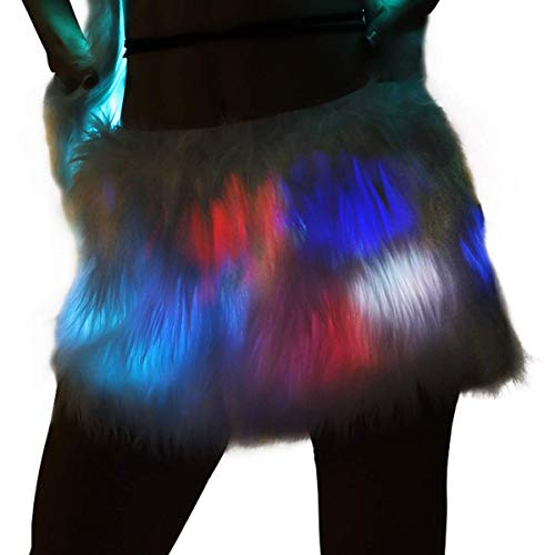 White Faux Fur Unicorn Tutu Skirts with Rainbow Led Lights, Fluffy Light Up Tutu Mini Led Skirt for Christmas Cosplay Party Flashing Costume Clothing Rave Outfit (Led Skirt-M) -