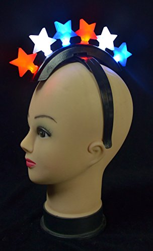 Mohawk Adult Wig - Fun Central BC926 1ct LED Star Mohawk, Light Up Headband, Fun Mohawk Wig, Glowing Mohawk, Light Up Toys - 4th of July Parades, Memorial Day, Patriotic Themed Parties
