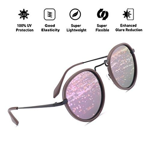 nuevo lente de vendimia diseñador mujeres reflectante la gran ovales metal marco gafas HD con tamaño hombres de UV400 moda ATNKE retro polarizadas sol de gafas de para las de de T4 protección B1AqT