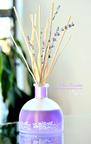 Manu Home Calm Lavender Reed Diffuser Set - Elegant Bottle, Reed Sticks with a Soft Lavender Relaxing Scent~ Made in USA
