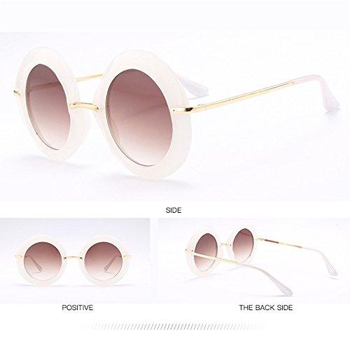 Marco De Sol Tendencia White Gafas De Grande Sol Gafas De De Euramerican Redondas Black xI5B0