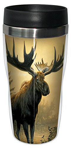 Tree-Free Greetings 77137 Golden Moose by James Hautman Vintage Art Sip 'N Go Travel tumbler, 16-Ounce, Stainless Steel, - Travel 16 Mug Oz United