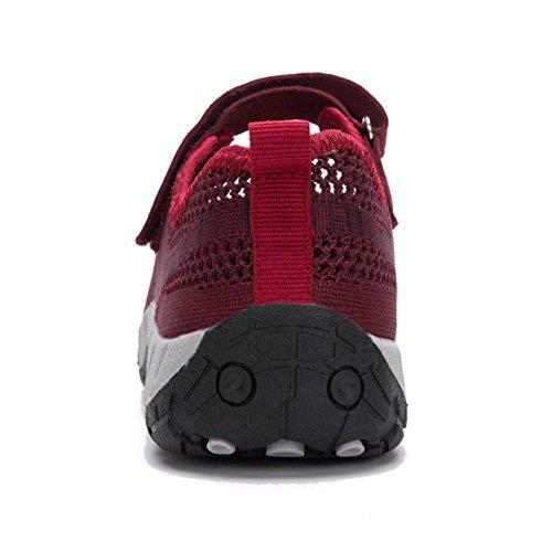 35 Fitnessschuhe Klettverschluss rot 41 Leicht Damen Outdoor Flach Slipper Halbschuhe Zkyo Sport mit Gr A PT1wdqBTx