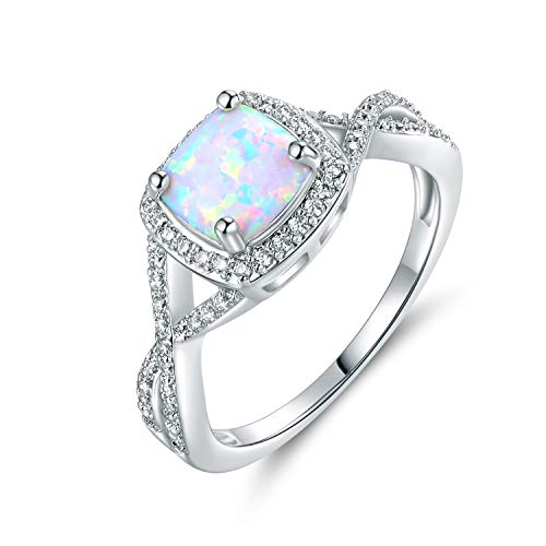Barzel White Gold Plated Created Opal & Created Gemstone Ring (Silver with Clear, 8)