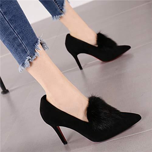 Altos Tacones Estilete Zapatos Sexy Boca La Mujeres Solo Negro Corte Salvaje Gamuza 36 Ante Baja De Temperamento Femenina Hrcxue 4OZqdw6xZ