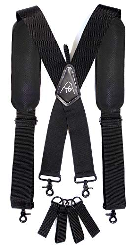 Tool Belt Suspenders- Heavy Duty Work Suspenders for Men, Adjustable, Comfortable and Padded -Includes- Tool Belt Loops and Strong Trigger Snap Clips by ToolsGold