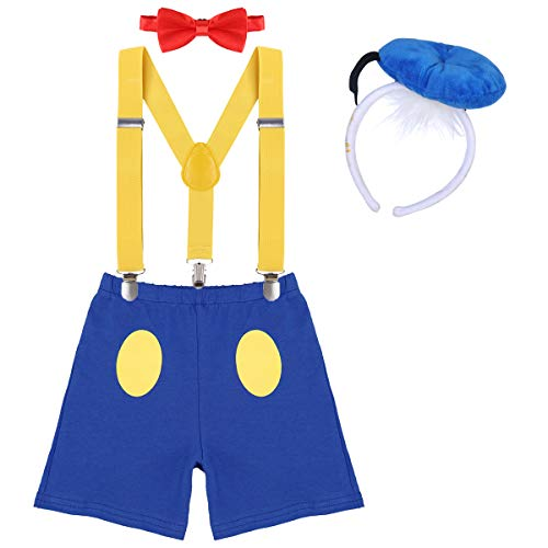Boys Cake Smash Outfit Newborn Infant Baby 1st/2nd First Birthday Donald Duck Costume Diaper Cover Bloomers+Elastic Suspenders+Mini Hat Headband+Bow Tie 4Pcs Set for Photo Party Yellow+Blue 2-3Y -
