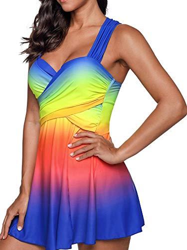 Women's Color Block Criss Cross Tankini Swimdress with Boyshort Two Piece Swimsuits Bathing Suit (M-3XL) Blue