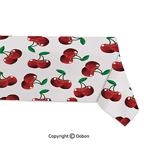 oobon Space Decorations Tablecloth, Vibrant Cherries Vitamin Agriculture Exotic Summer Garden Pattern, Rectangular Table Cover for Dining Room Kitchen, W60xL84 inch