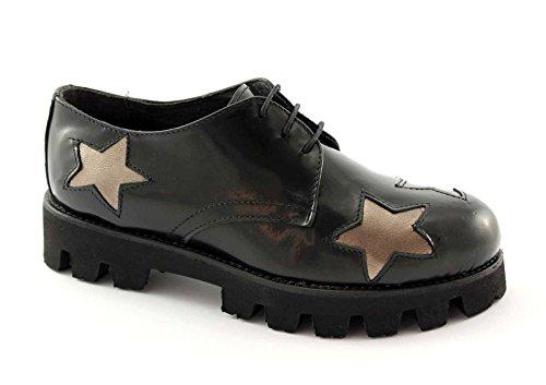 Divine Madness 9520 Schwarze Schuhe Frau Derby Schnürsenkel Glatte Sterne Nero